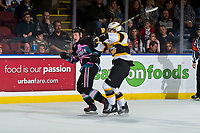 KELOWNA, CANADA - NOVEMBER 3:  Lassi Thomson #2 of the Kelowna Rockets is checked by a player of the Brandon Wheat Kings during first period on November 3, 2018 at Prospera Place in Kelowna, British Columbia, Canada.  (Photo by Marissa Baecker/Shoot the Breeze)