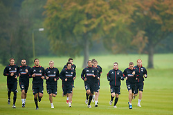 CARDIFF, WALES - Monday, October 13, 2008: Wales players during training at the Vale of Glamorgan Hotel ahead of the 2010 FIFA World Cup South Africa Qualifying Group 4 match against Germany. L-R: Chris Gunter, Carl Fletcher, Lewin Nyatanga, David Edwards, Simon Daves, Ashley Williams, Carl Robinson, Jason Koumas, Craig Bellamy and James Collins. (Photo by David Rawcliffe/Propaganda)
