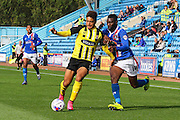 Jabo Ibehre attacks the ball during the Sky Bet League 2 match between Carlisle United and Dagenham and Redbridge at Brunton Park, Carlisle, England on 12 September 2015. Photo by Craig McAllister.