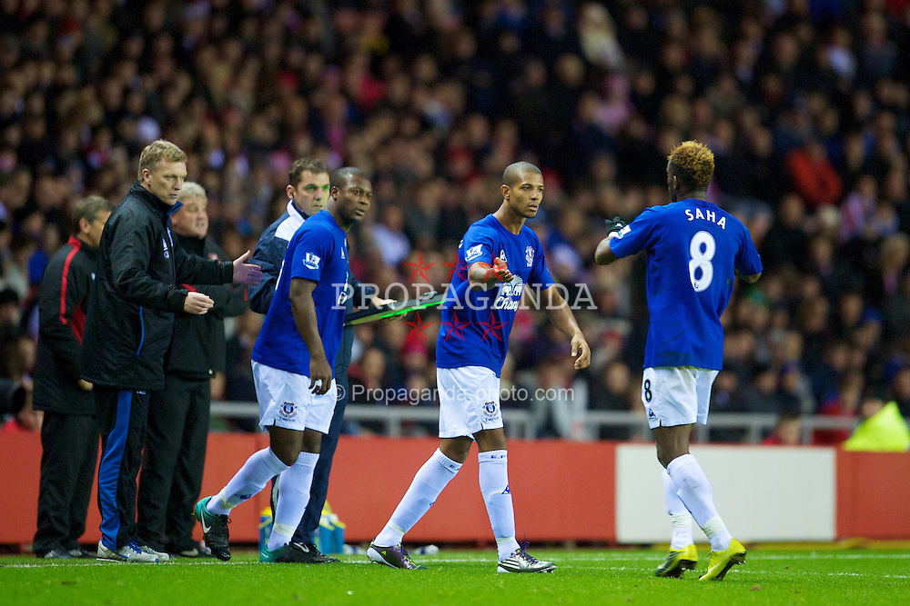 SUNDERLAND, ENGLAND - Monday, November 22, 2010: Everton's Jermaine Beckford and Ayegbeni Yakubu come on as late substitutes against Sunderland during the Premiership match at the Stadium of Light. (Photo by David Rawcliffe/Propaganda)