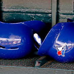 Feb 23, 2013; Lakeland, FL, USA; A detail of Toronto Blue Jays batting helmets in the dugout before a spring training game against the Detroit Tigers at Joker Marchant Stadium. Mandatory Credit: Derick E. Hingle-USA TODAY Sports