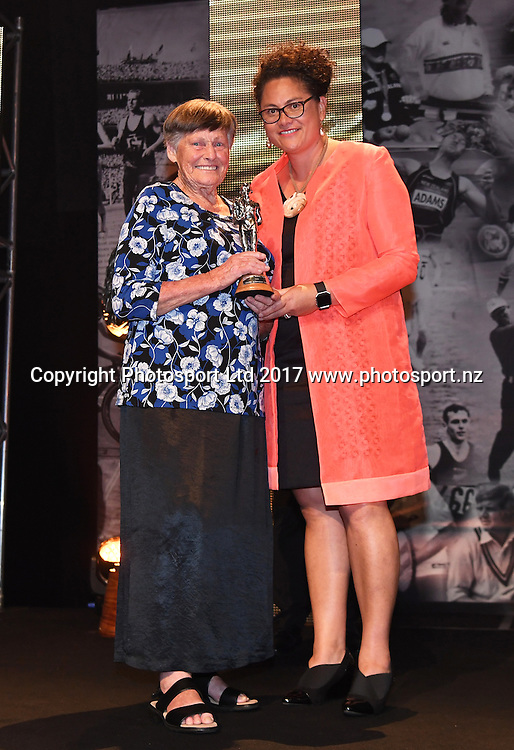 The Lifetime Achievement Award is presented to Myra Larcombe by Louisa Wall.<br /> The 54th Halberg Awards in support of the Halberg Disability Sport Foundation. Vector Arena, Auckland, New Zealand. Thursday 9 February 2017. &copy; Copyright photo: Andrew Cornaga / www.photosport.nz