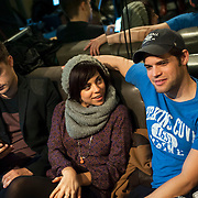 """December 5, 2013 - New York, NY: From left, Andy Mientus, Krysta Rodriguez, and Jeremy Jordan, members of the cast of the NBC musical drama television series """"Smash"""" take a break during rehearsals at Smash Studios in Manhattan on Thursday afternoon. The group is to  perform their cabaret show """"HIT LIST,"""" which will premiere Sun, Dec 8 at 54 Below.  CREDIT: Karsten Moran for The New York Times"""