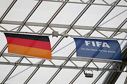 28.06.2011, FIFA Frauen-WM-Stadion Leverkusen, Leverkusen, GER, FIFA Women Worldcup 2011, Gruppe C, Kolumbien (COL) vs. Schweden (SWE), im Bild:  Deutschland Fahne und FIFA Fahne   // during the FIFA Women´s Worldcup 2011, Pool C, Colombia vs Sweden on 2011/06/28, FIFA Frauen-WM-Stadion Leverkusen, Leverkusen, Germany.   EXPA Pictures © 2011, PhotoCredit: EXPA/ nph/  Mueller *** Local Caption ***       ****** out of GER / CRO  / BEL ******