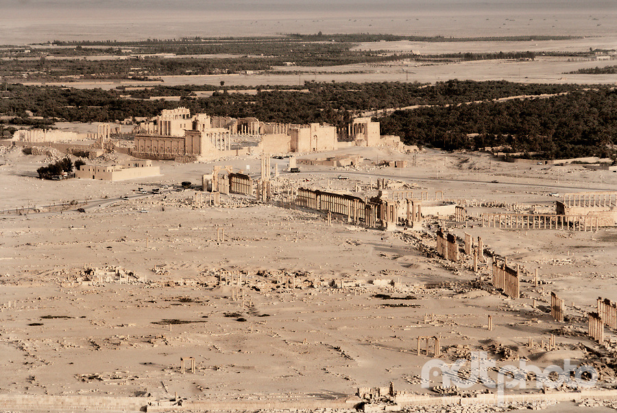 Panoramic view of the ruins of the old Roman town in Palmyra, Syria. Palmyra is among the UNESCO world heritage sites.