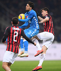 MILAN, Jan. 27, 2019  AC Milan's Alessio Romagnoli (R) vies with Napoli's Simone Verdi (C) during a Serie A soccer match between AC Milan and Napoli in Milan, Italy, Jan. 26 , 2019. The match ended 0-0. (Credit Image: © Alberto Lingria/Xinhua via ZUMA Wire)