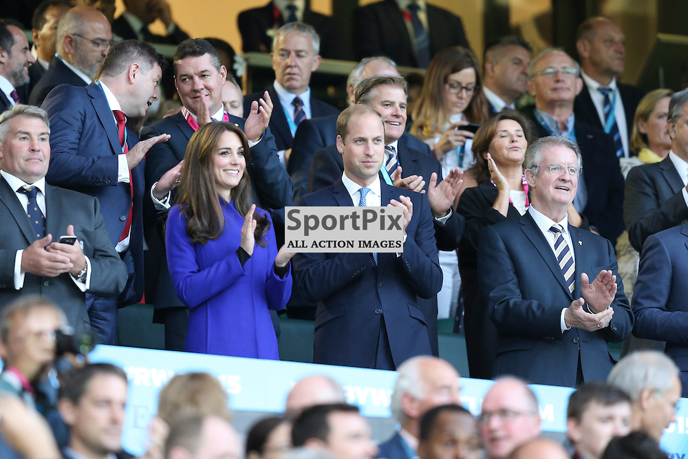 TWICKENHAM, ENGLAND - SEPTEMBER 18:  Prince William and Kate the Duchess of Cambridge before the opening game of the Rugby World Cup between England and Fiji at Twickenham on September 18, 2015 in London, England. (Credit: SAM TODD | SportPix.org.uk)
