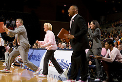 Virginia head coach Debbie Ryan and the Virginia bench celebrates after a play against NC State.  The Virginia Cavaliers faced NC State Wolfpack women's basketball team at the John Paul Jones Arena in Charlottesville, VA on February 1, 2008.