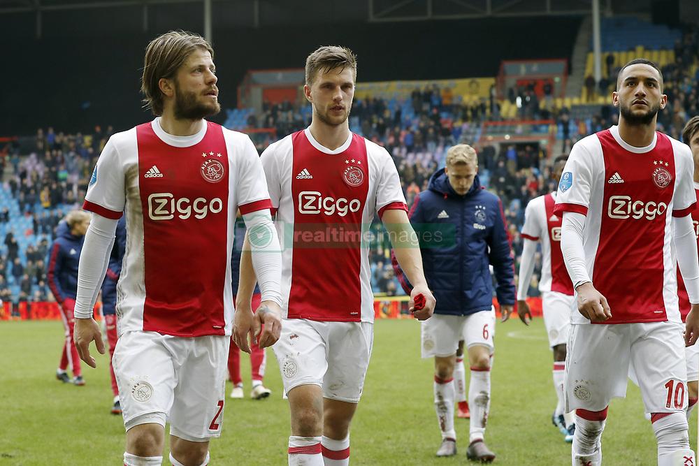 (L-R) Lasse Schone of Ajax, Joel Veltman of Ajax, Donny van de Beek of Ajax, Hakim Ziyech of Ajax during the Dutch Eredivisie match between Vitesse Arnhem and Ajax Amsterdam at Gelredome on March 04, 2018 in Arnhem, The Netherlands