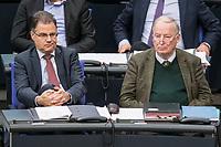 08 NOV 2018, BERLIN/GERMANY:<br /> Juergen Braun (L), MdB, AfD, Stellv. Fraktionsvorsitznder, und Alexander Gauland (R), MdB, AfD Fraktionsvorsitzender, Bundestagsdebatte zum Gesetzentwurf der Bundesregierung ueber Leistungsverbesserungen und Stabilisierung in der gesetzlichen Rentenversicherung, Plenum, Deutscher Bundestag<br /> IMAGE: 20181108-01-020<br /> KEYWORDS: Sitzung, Jürgen Braun