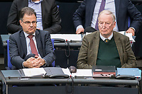 08 NOV 2018, BERLIN/GERMANY:<br /> Juergen Braun (L), MdB, AfD, Stellv. Fraktionsvorsitznder, und Alexander Gauland (R), MdB, AfD Fraktionsvorsitzender, Bundestagsdebatte zum Gesetzentwurf der Bundesregierung ueber Leistungsverbesserungen und Stabilisierung in der gesetzlichen Rentenversicherung, Plenum, Deutscher Bundestag<br /> IMAGE: 20181108-01-020<br /> KEYWORDS: Sitzung, J&uuml;rgen Braun