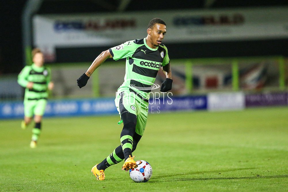 Forest Green Rovers Keanu Marsh-Brown on the ball during the The County Cup match between Forest Green Rovers and Bristol City at the New Lawn, Forest Green, United Kingdom on 23 November 2015. Photo by Shane Healey.