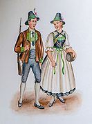 Illustration of a Tyrolean couple in traditional clothing and green felt hat. The man is carrying a hunting rifle