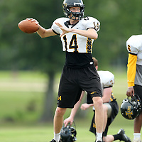 Itawamba AHS quarterback Jaxon Orr throws to his open receiver at practice Friday afternoon in Fulton.
