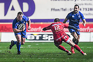 Leinster's Bryan Byrne in action <br /> <br /> Photographer Craig Thomas/Replay Images<br /> <br /> Guinness PRO14 Round 17 - Scarlets v Leinster - Friday 9th March 2018 - Parc Y Scarlets - Llanelli<br /> <br /> World Copyright © Replay Images . All rights reserved. info@replayimages.co.uk - http://replayimages.co.uk