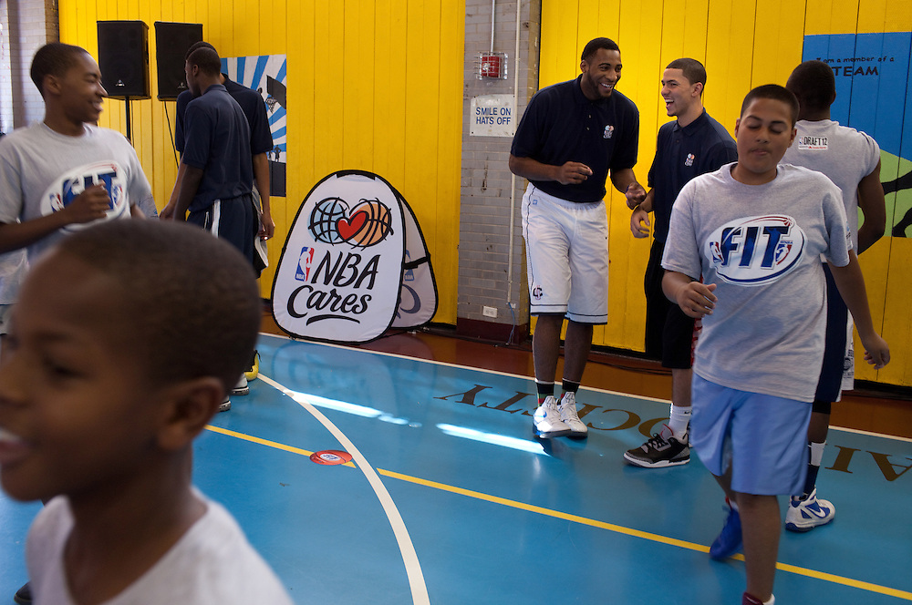 {June 27, 2012} {4:00pm} -- New York, NY, U.S.A.Duke basketball star Austin Rivers with Andre Drummond working out with kids at the Dunlevy Milbank Boys & Girls Club in Harlem before the NBA draft Thursday in Manhattan, New York on June 27, 2012. .
