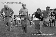 Three General Secretaries and a President take part in a sack race. L to r; Jimmy Knapp, NUR: Ron Todd, TGWU; Jack Taylor, Yorkshire NUM; Rodney Bickerstaffe, NUPE. SOGAT Gala Day for Miners Children. 01/09/1984.