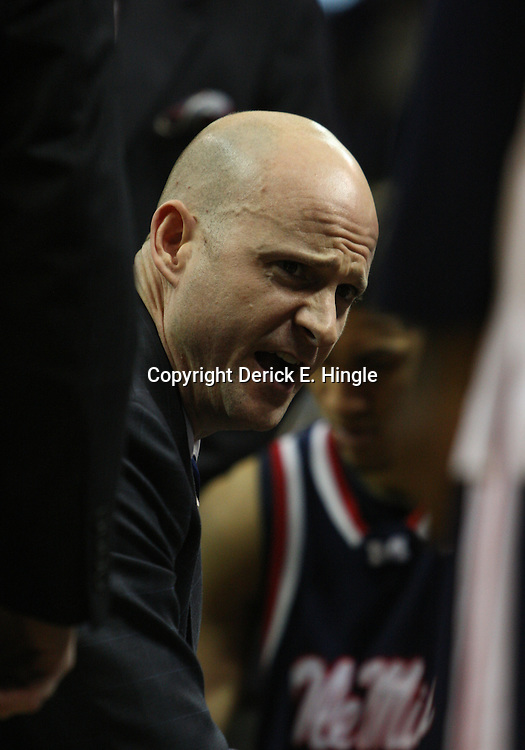 14 February 2009: Ole Miss Rebels head coach Andy Kennedy talks to his players during a NCAA basketball game between SEC rivals the Ole Miss Rebels and the LSU Tigers at the Pete Maravich Assembly Center in Baton Rouge, LA.