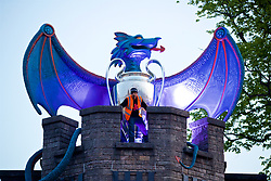 CARDIFF, WALES - Thursday, May 11, 2017: A Dragon on top of the ramparts of Cardiff Castle ahead of the UEFA Champions League Final taking place in the National Stadium of Wales on Saturday June 3rd at 19:45. (Pic by David Rawcliffe/Propaganda)