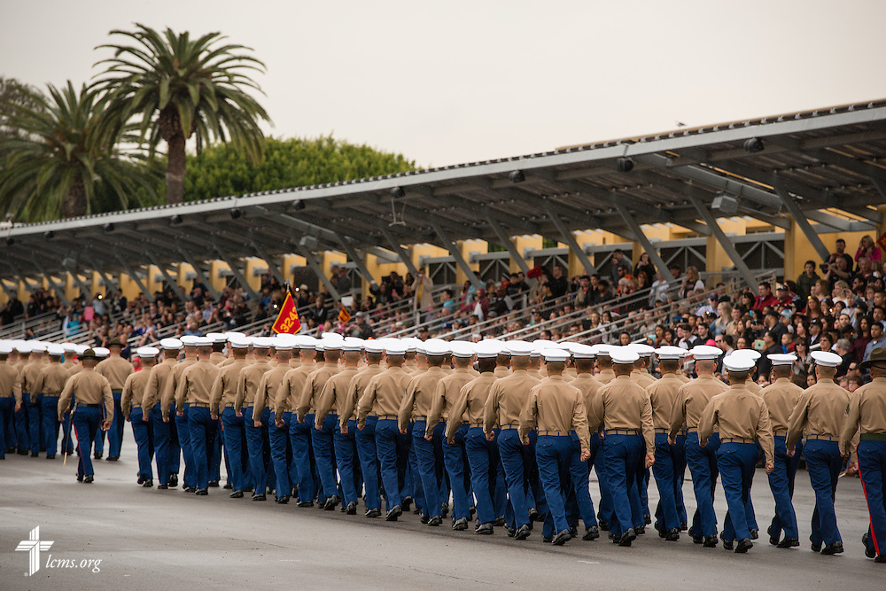 Recruits walk Friday, Jan. 30, 2015, during graduation at the Marine Corps Recruit Depot in San Diego, Calif. LCMS Communications/Erik M. Lunsford