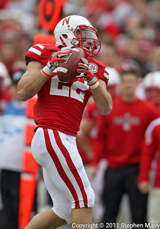 November 25, 2011: Nebraska Cornhuskers running back Rex Burkhead (22) pulls in a pass during the first half of the NCAA football game between the Iowa Hawkeyes and the Nebraska Cornhuskers at Memorial Stadium in Lincoln, Nebraska on Friday, November 25, 2011.