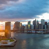 Brooklyn bridge and New York city skyline  taken from Manhattan bridge