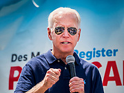 08 AUGUST 2019 - DES MOINES, IOWA: The crowd is reflected in the sunglasses of former Vice President JOE BIDEN while he speaks at the Des Moines Register Political Soapbox at the Iowa State Fair. Vice President Biden spoke at the Des Moines Register Political Soapbox at the Iowa State Fair Thursday. Biden is running to be the Democratic nominee for President in 2020. Iowa holds the first selection event of the 2020 election cycle. The Iowa Caucuses are on February 3, 2020.          PHOTO BY JACK KURTZ