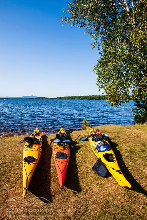 Kayaks on the shore of Umbagog Lake.  Umbagog Lake State Park, Cambridge, New Hampshire.