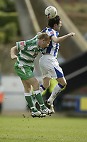 Photo: Aidan Ellis.<br /> Huddersfield Town v Yeovil Town. Coca Cola League 1. 29/04/2006.<br /> Yeovil's Paul Terry and huddersfield's Mark Hudson