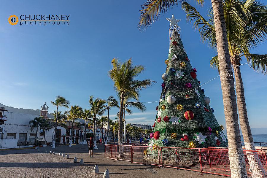 Christmas tree along the Malecon in Puerto Vallarta, Mexico