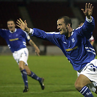 St Johnstone v Hamilton Accies...25.10.05<br />Paul Sheerin celebrates scoring from the penalty spot.<br /><br />Picture by Graeme Hart.<br />Copyright Perthshire Picture Agency<br />Tel: 01738 623350  Mobile: 07990 594431