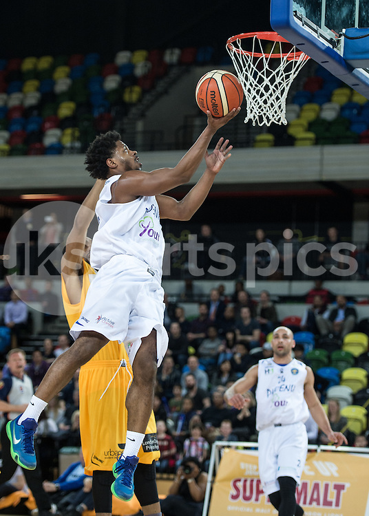Quincy Taylor of Cheshire Phoenix scores during the BBL Championship match between London Lions and Cheshire Phoenix at the Copper Box Arena, London, United Kingdom on 30 March 2016. Photo by Vince  Mignott.