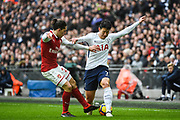 Tottenham Hotspur Forward Son Heung-Min (7) and Arsenal Defender Hector Bellerin (24) battle for the ball during the Premier League match between Tottenham Hotspur and Arsenal at Wembley Stadium, London, England on 10 February 2018. Picture by Stephen Wright.