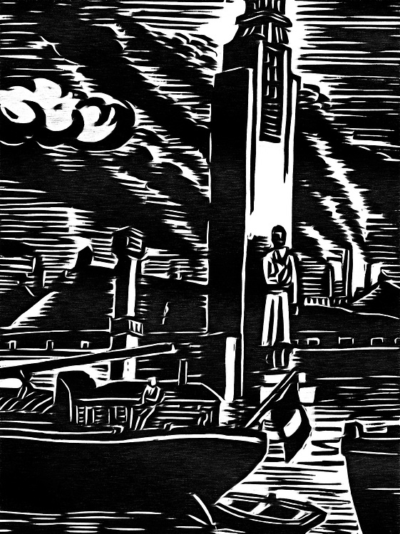 A black / white impression of the harbor master who watches over the ship traffic on the river