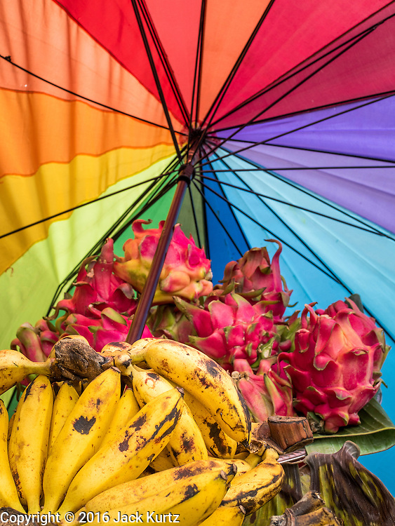 17 JULY 2016 - UBUD, BALI, INDONESIA: Bananas and dragonfruit for sale on the side of the road in Ubud, Bali.      PHOTO BY JACK KURTZ