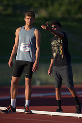 (Guelph, Canada---07 June 2019) Sean Cate getting coaching instructions in the high jump at the 2019 Speed River Inferno Track and Field Festival held at Alumni Stadium at the University of Guelph. Copyright image 2019 Sean W Burges / Mundo Sport Images