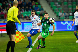Roman Bezjak of Slovenia, Jan Durica of Slovakia during football match between National teams of Slovenia and Slovakia in Round #2 of FIFA World Cup Russia 2018 qualifications in Group F, on October 8, 2016 in SRC Stozice, Ljubljana, Slovenia. Photo by Ziga Zupan / Sportida