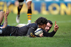 Ben Jacobs of Wasps scores a try in the first half - Photo mandatory by-line: Patrick Khachfe/JMP - Mobile: 07966 386802 14/12/2014 - SPORT - RUGBY UNION - High Wycombe - Adams Park - Wasps v Castres Olympique - European Rugby Champions Cup