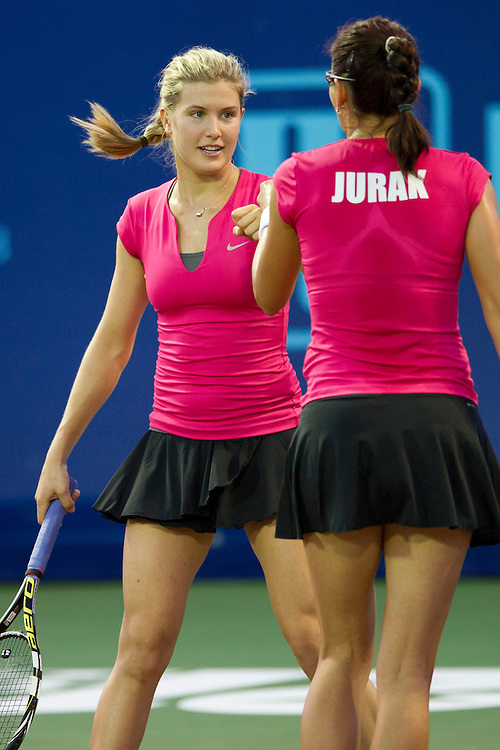IRVING, TX - JULY 10:  Eugenie Bouchard of the Texas Wild celebrates with her doubles partner Darija Jurak against the Washington Kastles on July 10, 2013 at the Four Seasons Resort and Club in Irving, Texas.  (Photo by Cooper Neill/Getty Images) *** Local Caption *** Eugenie Bouchard; Darija Jurak
