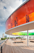Your Rainbow Panorama, a Rainbow-coloured glass walkway on the roof of the Danish art museum ARoS Aarhus Kuntsmuseum, by Danish-Icelandic artist Olafur Eliasson. Opened 28 May, 2011