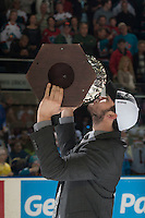 KELOWNA, CANADA - MAY 13: Mitch Wheaton kisses the WHL Championship trophy on May 13, 2015 during game 4 of the WHL final series at Prospera Place in Kelowna, British Columbia, Canada.  (Photo by Marissa Baecker/Shoot the Breeze)  *** Local Caption *** Mitch Wheaton;