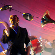 The music of Tom Waits played in a crazy interpreted style using a variety of objects as instruments by L'Orchestre D'Hommes at IF Milton Keynes International Festival 2012.