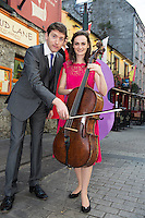 08/09/2014 Repro Free , Sarah Joyce, cellist   Finghin Collins, Artistic Director  and at the launch of Music for Galway's 34th International Concert Season on Quay Strret Galway.  <br /> Picture:Andrew Downes
