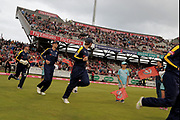 Yorkshires run out during the Vitality T20 Blast North Group match between Lancashire County Cricket Club and Yorkshire County Cricket Club at the Emirates, Old Trafford, Manchester, United Kingdom on 20 July 2018. Picture by George Franks.
