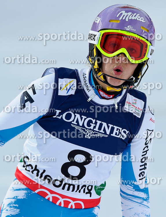08.02.2013, Planai, Schladming, AUT, FIS Weltmeisterschaften Ski Alpin, Super Kombination, Abfahrt, Slalom, im Bild Michaela Kirchgasser (AUT) // Michaela Kirchgasser of Austria after Ladies Super Combined Slalom at the FIS Ski World Championships 2013 at the Planai Course, Schladming, Austria on 2013/02/08. EXPA Pictures © 2013, PhotoCredit: EXPA/ Sandro Zangrando