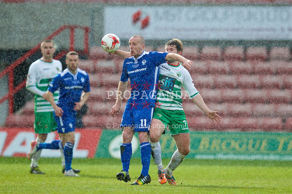 WREXHAM, WALES - Monday, May 2, 2016: Airbus UK Broughton's Tony Gray and The New Saints' Christian Sergeant during the 129th Welsh Cup Final at the Racecourse Ground. (Pic by David Rawcliffe/Propaganda)