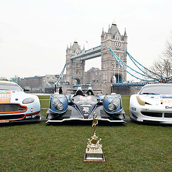 The Aston Martin, Strakka LMP1 and the RAM Racing Ferrari with the Championship trophy at the FIA-WEC series launch situated in Potters Fields overlooking Tower Bridge, London on the 22nd March 2013. WAYNE NEAL | STOCKPIX.EU