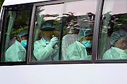 Visit by residents to homes in nuclear exclusion zone, Okuma, Fukushima Prefecture, Japan on Aug. 31 2011. Rob Gilhooly PhotoResidents sit in a bus after being allowed briefly to return and collect valuables and other belongings from their homes inside the nuclear exclusion zone in Okuma, Fukushima Prefecture, Japan on Aug. 31 2011. Robert Gilhooly Photo
