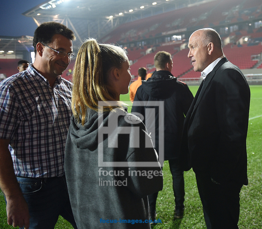 Hull City Tigers manager Mike Phelan chats with the mascot prior to the EFL Cup match at Ashton Gate, Bristol<br /> Picture by Daniel Hambury/Focus Images Ltd +44 7813 022858<br /> 25/10/2016