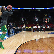 March 31, 2019; Portland, OR, USA;  Oregon Ducks guard Sabrina Ionescu (20) takes a shot during shoot around in the Elite Eight of the NCAA Women's Tournament at Moda Center.<br /> Photo by Jaime Valdez